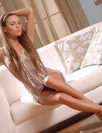 Gorgeous Viki posing on couch