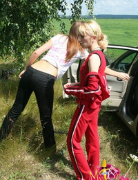 Amateur teen couples have outdoor group sex
