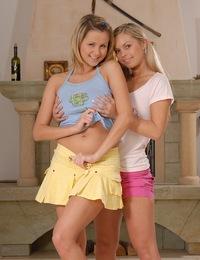 Hot teens riding shotgun with a giant dildo